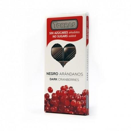 CHOCOLATE NEGRO ARANDANOS 150g S/AZUCARES  S/GLUTEN TORRAS