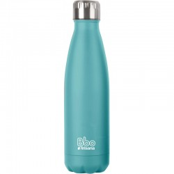 BOTELLA REUTILIZABLE DE ACERO INOXIDABLE 350 ML AZUL TURQUESA + FUNDA