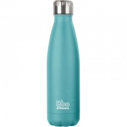 BOTELLA REUTILIZABLE DE ACERO INOXIDABLE 750 ML AZUL TURQUESA + FUNDA