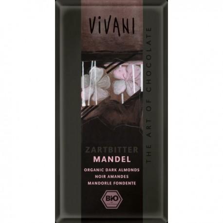 CHOCOLATE NEGRO ALMENDRAS ECOLÓGICO 100 gr VIVANI