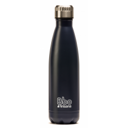 BOTELLA REUTILIZABLE DE ACERO INOXIDABLE 500 ml AZUL MARINO + FUNDA
